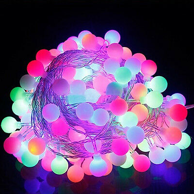 100 LED Globe Bulb Ball Xmas Lamp String Lights Curtain Wedding Party Decoration