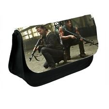 TWD, Walking Dead, Rick and Daryl Black Canvas Pencil Case, Make-Up Bag