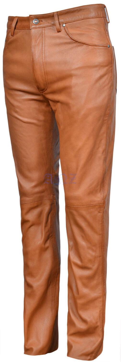 501 Men's Tan Real Genuine Nappa Premium Leather Motorcycle Biker Jeans Trouser