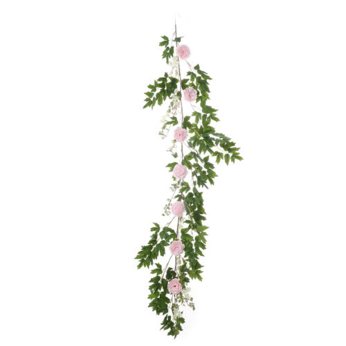 BLUSH 6 ft long Silk Peony Flowers Garland with Leaves and Bendable Wire Vine