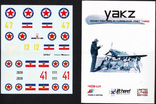 lh403// Lift Here Decals Jak-1 // Jak-3 // Jak-9 1//48 Jugoslawische Luftwaffe