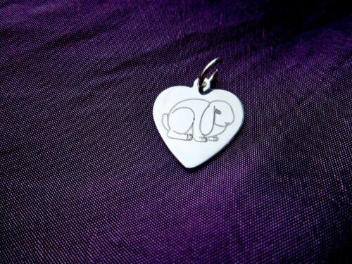 Desramar Orejas Conejo Corazón encanto plata esterlina 925 Anillo Colgante Clip Grabado Gratis