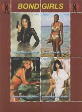"""JAMES BOND 007 BOND GIRLS 6"""" x 4.5"""" REPUBLIQUE DU BENIN 2014 STAMP SHEETLET"""