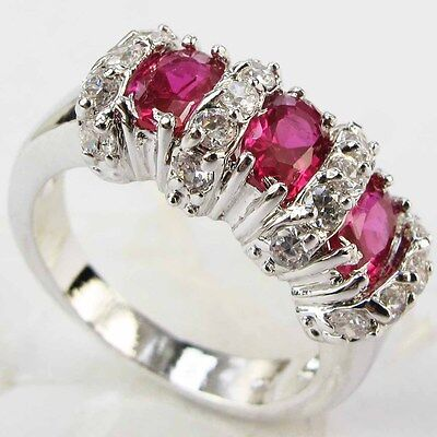 Lady/Women's Silver 18KT White Gold Filled Ruby Wedding Ring Gift size 6-10