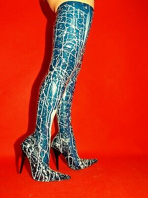 LATEX RUBBER FETISH BOOTS SIZE 4-12- HEELS 5,5-13CM- PRODUCER- POLAND-WHITE-BLUE