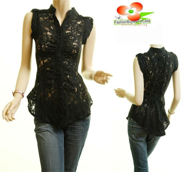 Boho Medieval Black Sheer Lace Button Up Tie Back Renaissance Blouse Shirt Top