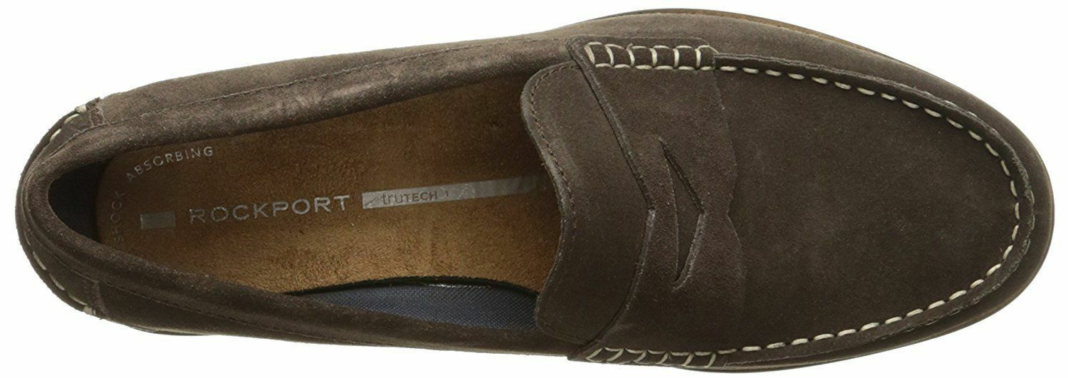 ROCKPORT CLASSIC MOVE PENNY LOAFER. DARK BROWN SUEDE, 15.5 W NEW UK, 51.5 W EU, NEW W c59168