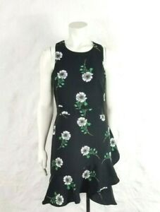 Banana-Republic-Womens-6-Dark-Floral-Black-Sleeveless-Fit-amp-Flare-Dress-Career