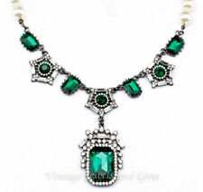 EMERALD GREEN CLEAR WHITE PEARL BEAD Silver Crystal Rhinestone Art Deco Necklace