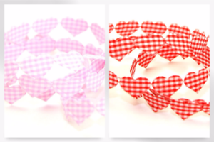 HTR//13-M Gingham Padded Hearts Trimming P per 15 metre roll