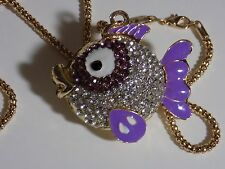 New Goldtone Crystal Purple Fish Necklace