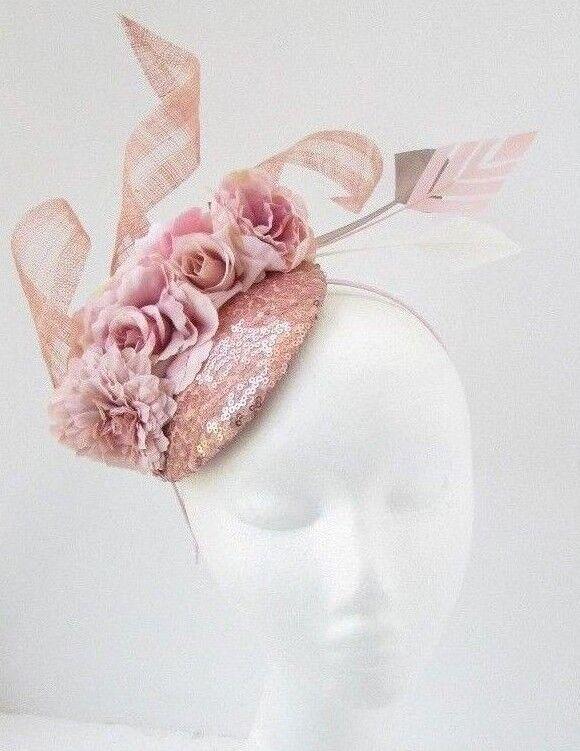 Large Blush//Nude Fascinator Butterfly Sinamay Wedding Races Ascot fascinator hat