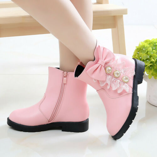 Girls Kids Leather Ankle Princess Boots Winter Flat Children Martin Shoes Size