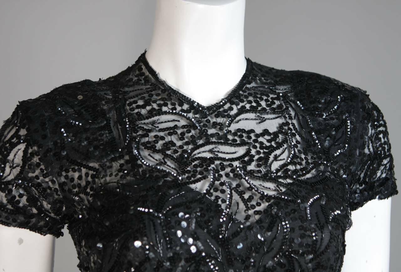 CEIL CHAPMAN Attributed Black Gown Size Small - image 4