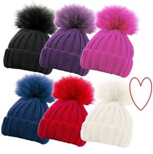 Girls-Ribbed-Hat-Chunky-Winter-Detachable-Bobble-Beanie