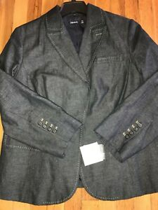 910157458fb16 NWT Relativity Blue Cotton Linen Denim Blazer Jacket NEW Retail  116 ...