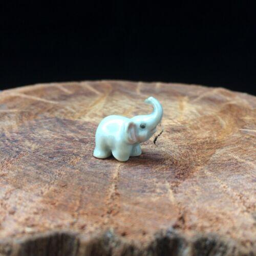 New Tiny Elephant Figurine Ceramic Dollhouse Miniature Mini Hand Painted Cute