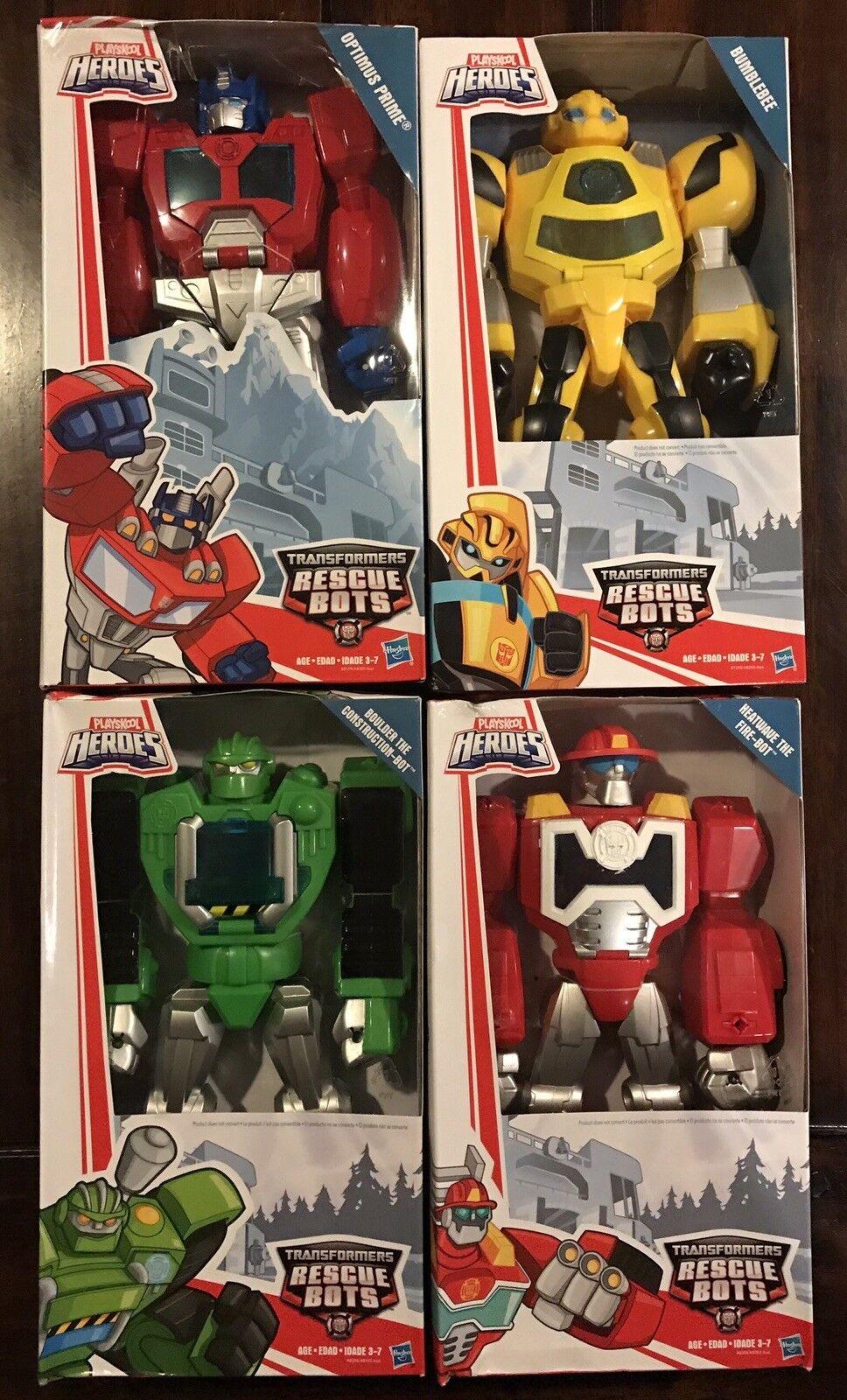 "Playskool 11"" Transformers Rescue Bots Optimus, Heatwave, Boulder, Bumblebee NIB"