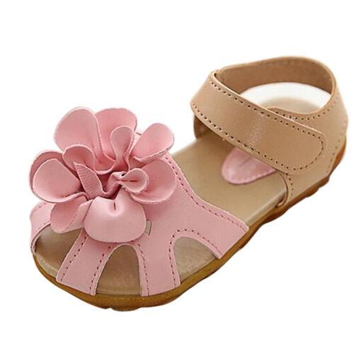 Summer Princess Sandal Kids Toddler Girl Flower Strap Flat Dance Dress Shoes