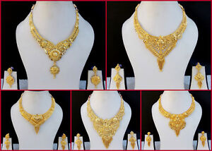 Indian-Bollywood-Fashion-Ethnic-Bridal-Gold-Plated-Jewelry-Necklace-Earrings-Set