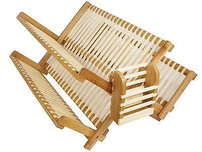 Natural Bamboo Wood Folding 2 level Dish Rack Drain in 4 sizes