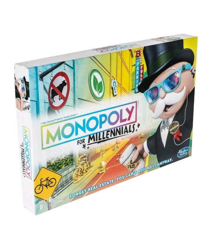 Monopoly for Millennials Millenials Edition Board Game Ages 8+ New Millennial