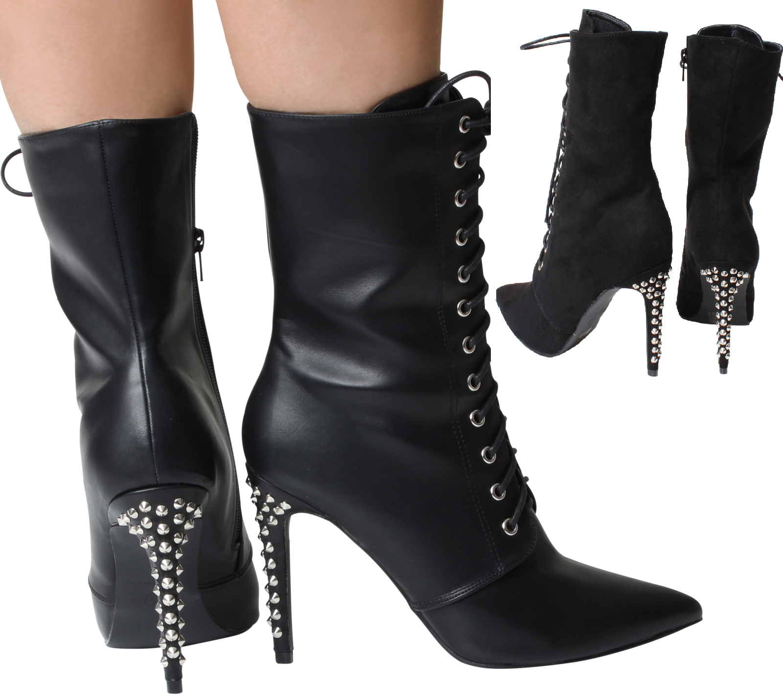 Ankle Black SteamPunk Victorian Boots Platform Lace Up High Stilleto Heel Spikes