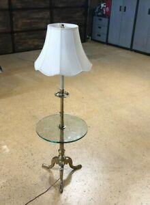 Mid-Century-STIFFEL-Tri-Leg-Brass-amp-Glass-Table-Floor-Lamp-w-SHADE-Vintage
