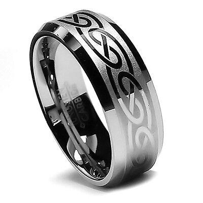 8MM Men's Tungsten Wedding Band Set, Robust His Laser Etched Celtic Design Ring!