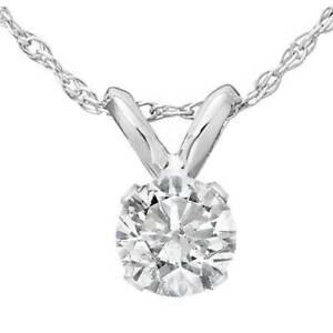 1/4ct Solitaire Diamond Pendant Necklace 14K White Gold