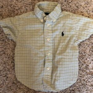 Ralph-Lauren-Polo-Boys-12-Month-Plaid-Short-Sleeve-Button-Down-Shirt-Yellow-Blue