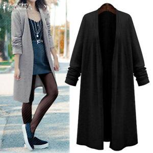 Mode-Femme-Cardigans-Manteau-Decontracte-lache-Manche-Longue-Coupe-slim-Plus