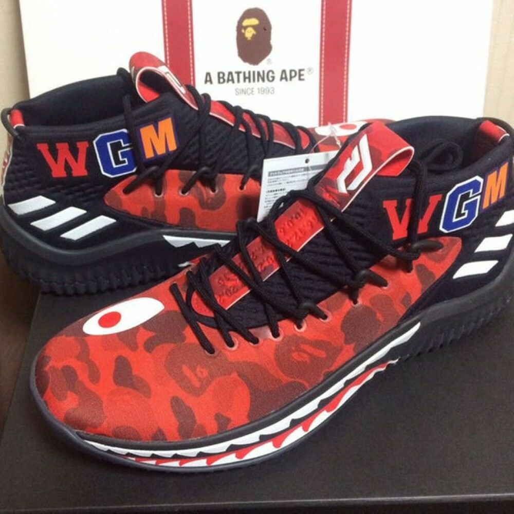 A BATHING APE x ADIDAS Originals Bape Dame 4 Damian Lilard Red 27.5cm US9.5