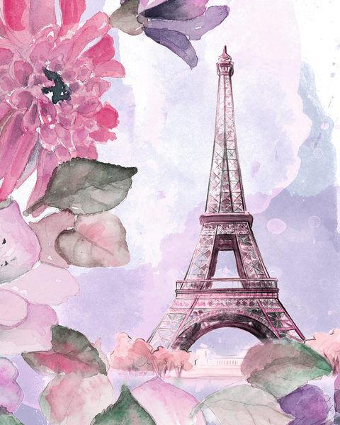 Lanie Loreth  Parisian Blossoms I Keilrahmen-Bild Leinwand Blaumen Paris floral