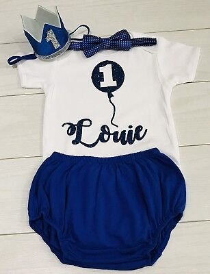 Luxury Baby Boys 1st First Birthday Cake Smash Outfit Set Hat Blue 12-18M Prop