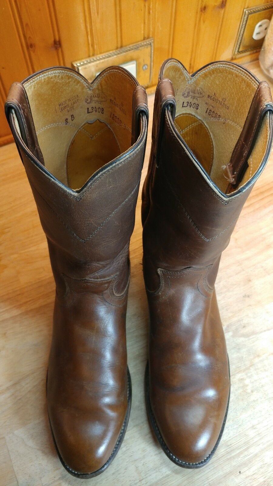WOMENS JUSTIN L3408 BROWN OILED LEATHER ROPER COWBOY WESTERN BOOTS SZ 8B