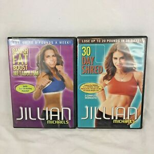 Jillian-Michaels-Workout-Fitness-DVD-Banish-Fat-Boost-Meta-30-Day-Shred-Lot-of-2