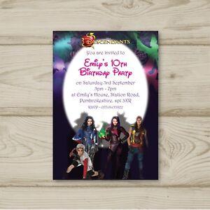 Image Is Loading Disney Descendants Birthday Party Invitations Personalised