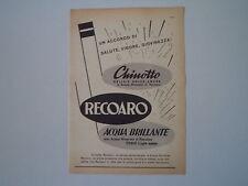 advertising Pubblicità 1956 ACQUA BRILLANTE/CHINOTTO RECOARO