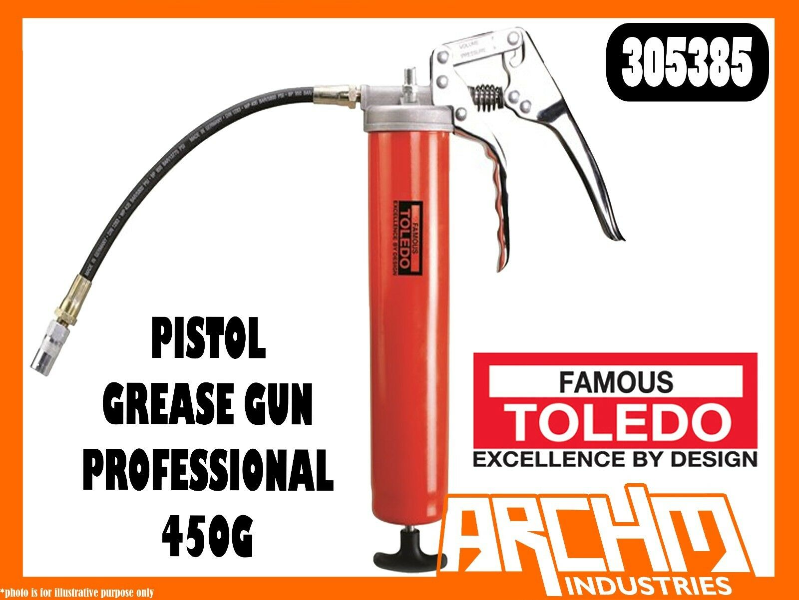 TOLEDO 305385 - PISTOL GREASE GUN - PROFESSIONAL 450G - ERGONOMIC ONE HAND