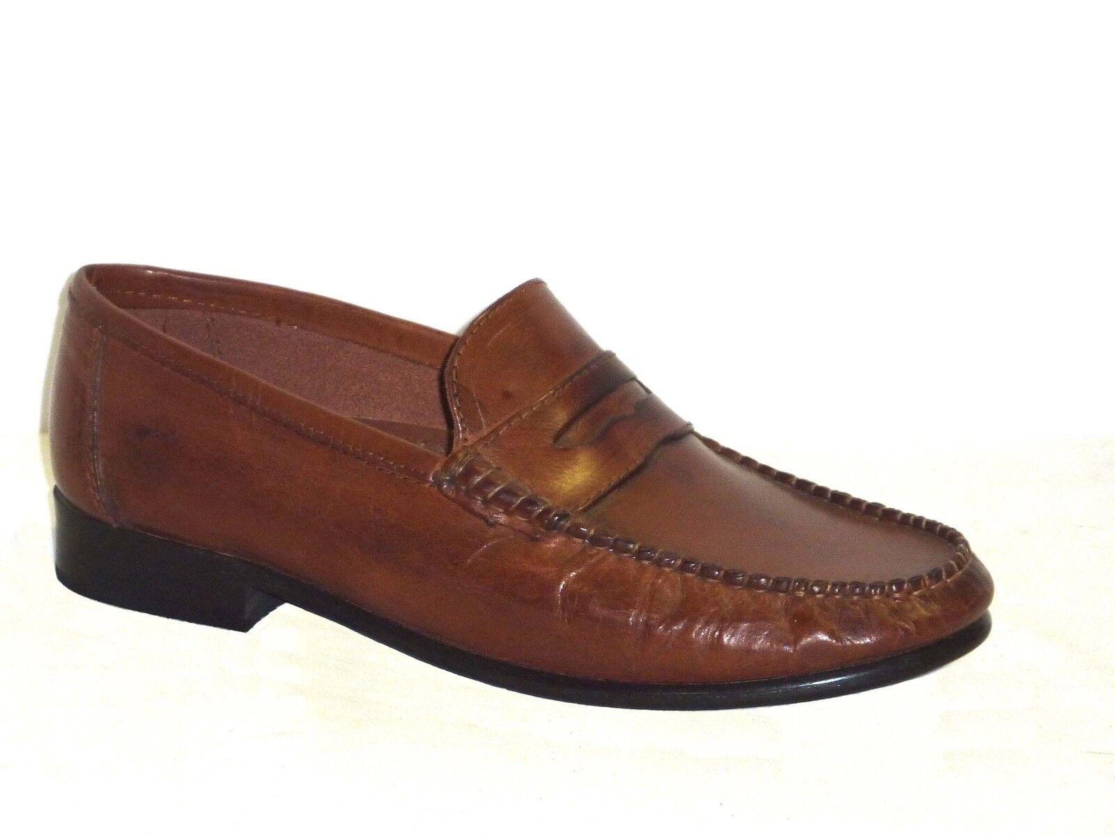 Mokassin Schuhe elegante Männerschuhe braunes Leder n.42