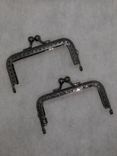 "NEW Set of 2 Gunmetal Purse Bag Metal Frames Kiss Clasp 3.5/"" x  2/"""