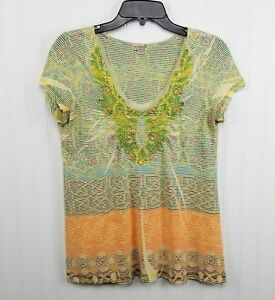 One-World-Top-Womens-Size-Small-Short-Sleeve-Striped-Sublimation-Print-T-Shirt