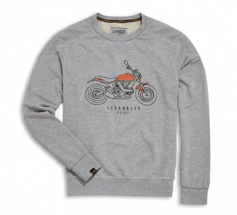 DUCATI Scrambler Sixty 2 Sweatshirt Pullover Sweater grau NEU