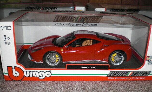 Bburago Ferrari 488 GTB Red  1 18 70th Anniversary Collection BNIB