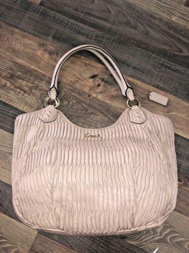 COACH ASHLEY GATHERED Leather TOTE  F23928 Tan Blu
