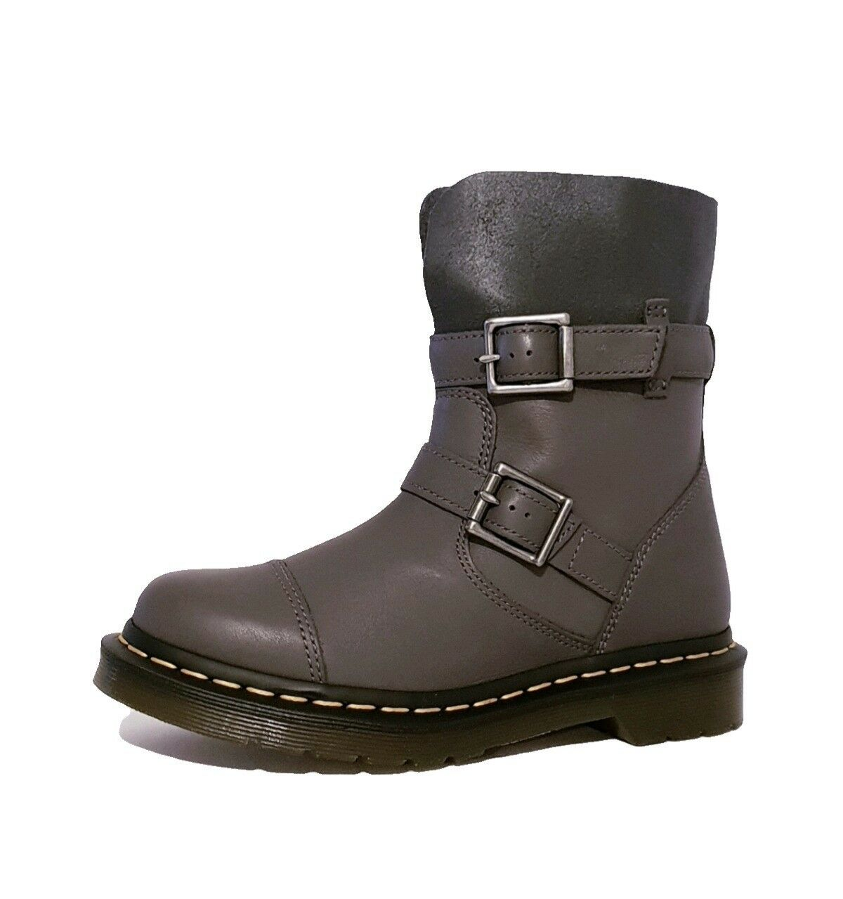 DR MARTENS KRISTY LEAD GREY GENUINE LEATHER ANKLE BOOTS LADIES