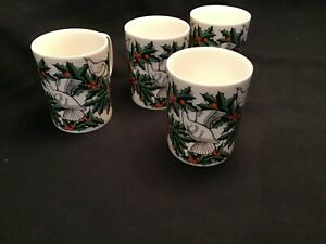 4-VINTAGE-FITZ-amp-FLOYD-DOVE-AND-HOLLY-MUGS-IN-EXCELLENT-CONDITION