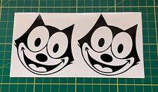 2x Vinyl Sticker Decal FELIX THE CAT Black Fit Car Laptop Tablet Toolbox Desktop