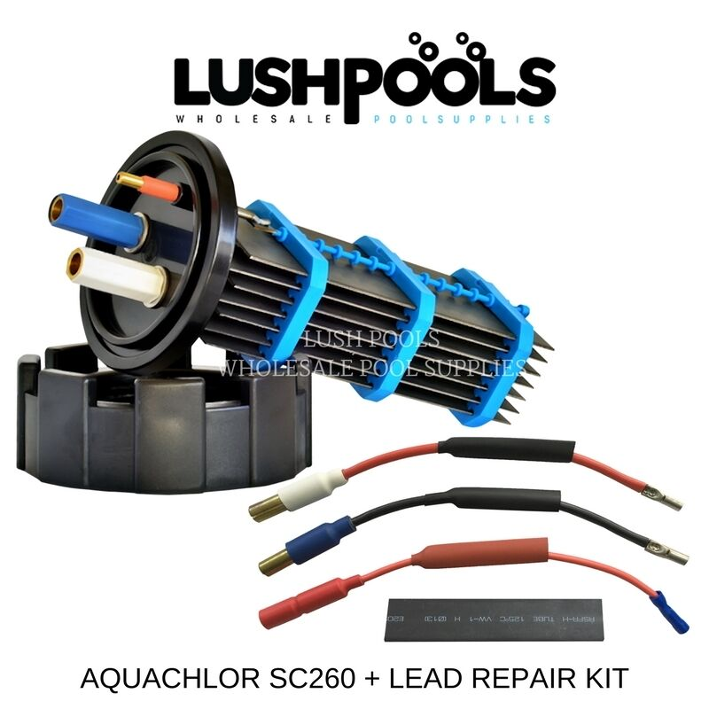 AQUACHLOR   CHLGoldMATIC SC260 RP Self Cleaning Chlorinator Cell + 1 2 Lead Kit